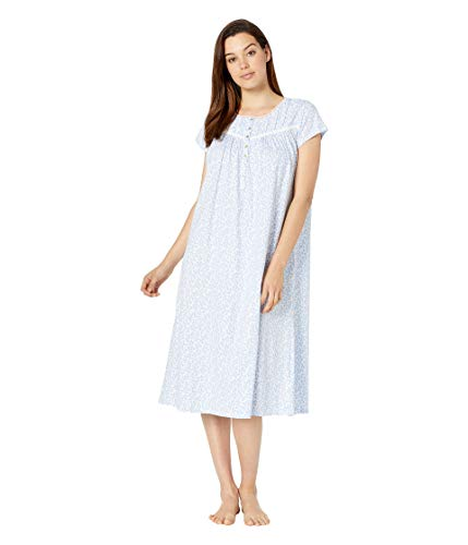 (Eileen West Women's Cotton Jersey Knit Short Sleeve Ballet Nightgown White Ground Daisies Large)