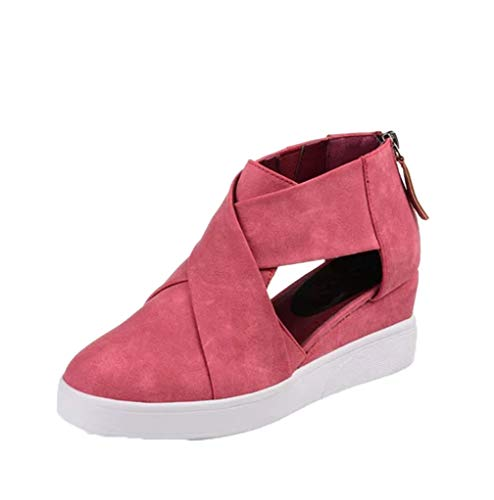 JOYBI Women Fashion Wedges Platform Sneakers Spring Autumn Non Slip Cut Out Zipper Ladies Casual Shoes Pink ()