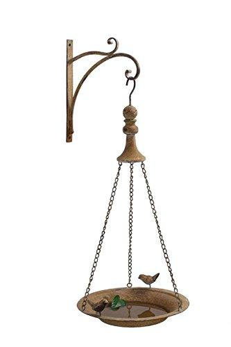 Metal Bird Feeder W/ Hook Wall Mount Light Rust Finish Country Home Garden D