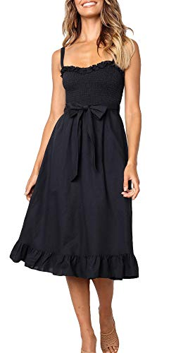 LOMON Beach Cover Up Women's Summer Slim Strappy Sleeveless Tie Ruched Dress (Black,L)