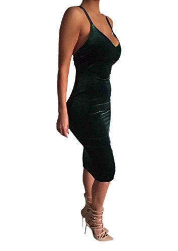 Sexy Courroie De Spaghetti Des Femmes Adogirl Dos Nu Club Bodycon Midi Robe De Velours Vert Foncé