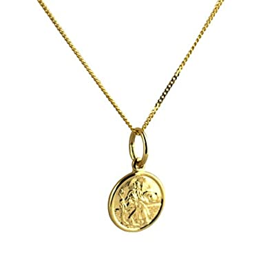 9ct Rolled Gold Two Tone St Christopher Pendant Necklace with 18