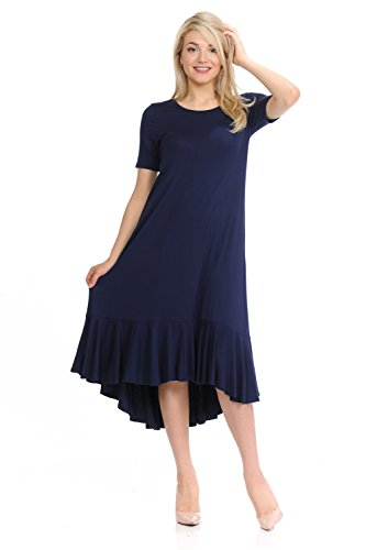 - Pastel by Vivienne Women's Short Sleeve High-Low Mid Dress with Ruffle Detail Large Navy