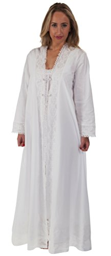 Peignoir Robe Nightgown - The 1 for U 100% Cotton Housecoat/Bathrobe - Rosalind (Large) White