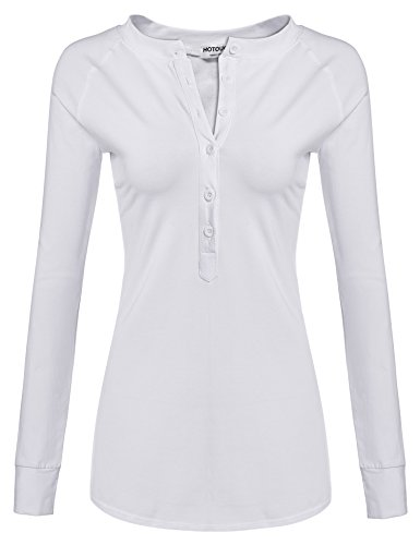 Hotouch Women O-Neck Long Sleeve Slim Blouse Henley Tee Shirt Tops,White,X-Large (Thermal Tee Raglan)