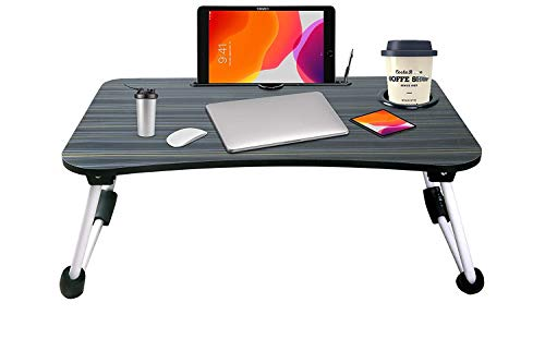 Tormeti Foldable Bed Study Table Portable Multifunction Laptop Table Lapdesk for Children Bed Foldabe Table Work Office Home with Tablet Slot & Cup Holder Bed Study Table (Black.)