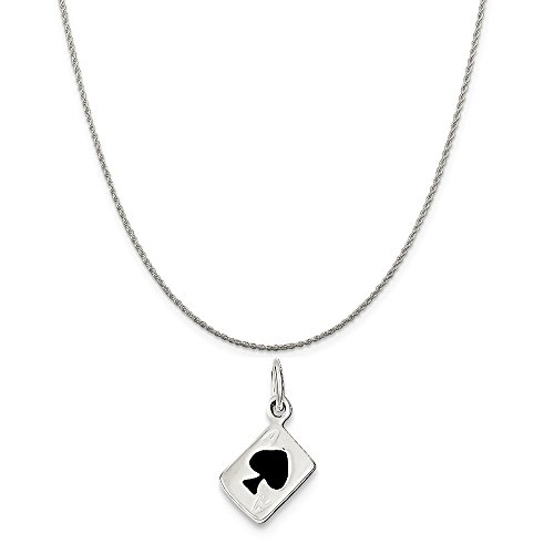 Mireval Sterling Silver Enameled Ace Of Spades Card Charm on a Sterling Silver Rope Chain Necklace, 20