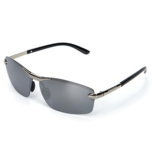 YJMILL New Polarized Sunglasses Retro Pilots Riding Fishing Golf Travel Sports Sunglasses Men 8079 (Silver, - De Armazones Lentes