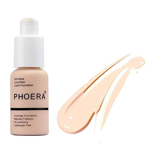 - PHOERA Matte Oil Control Concealer Foundation Cream Liquid Foundation (#101)
