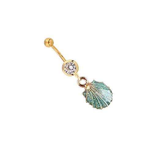 ihuoshang Summer Gold Shell Belly Ring Bohemian Belly Button Rings Starfish Navel Ring Navel Piercing Jewelry Girlfriend Gift,C3