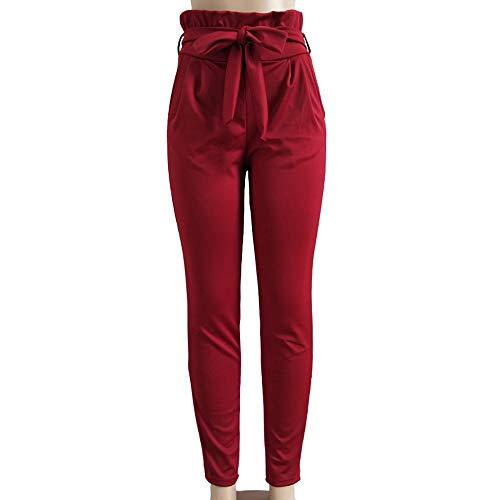 Manadlian Rouge Vin Sport Slim Casual Femme Taille Cordon De Haute Décontracté Pantalon pantalon FemmeÀ Avec H9DIE2
