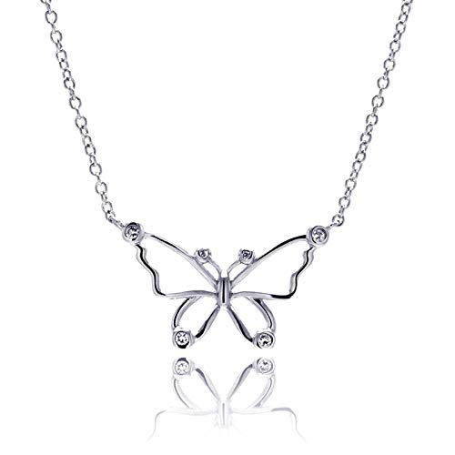 - Aienid 925 Sterling Silver Rhodium Plated Open Butterfly Outline Crystal Pendant Necklace for Women 18