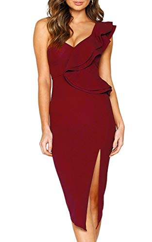 (ECOWISH Women's Dresses Sexy Ruffle One Shoulder Sleeveless Split Bodycon Midi Party Dress Wine Red L)