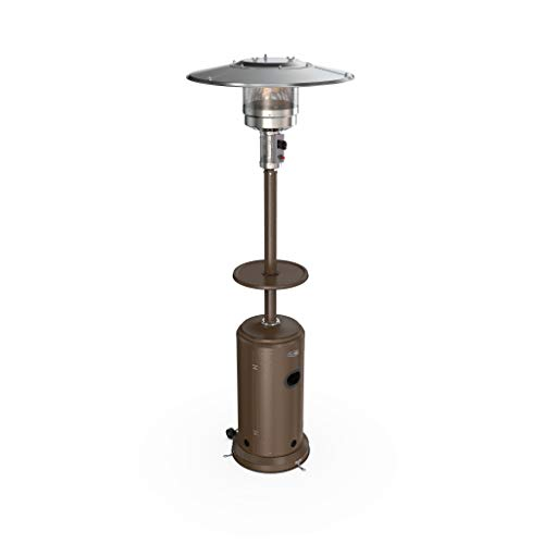 hOmeLabs Gas Patio Heater – 87 Inches Tall Standing Outdoor Heater with Drink Shelf Tabletop – Auto Shut Off Portable 41,000 BTU Power Heater with Simple Ignition System, Wheels and Base Reservoir