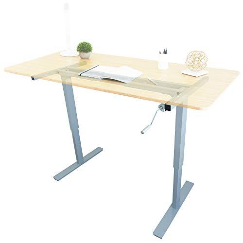 (Ergo Elements Manual Height Adjustable Stand Up Desk Frame Crank System Ergonomic Standing 2 Leg Workstation, Grey )
