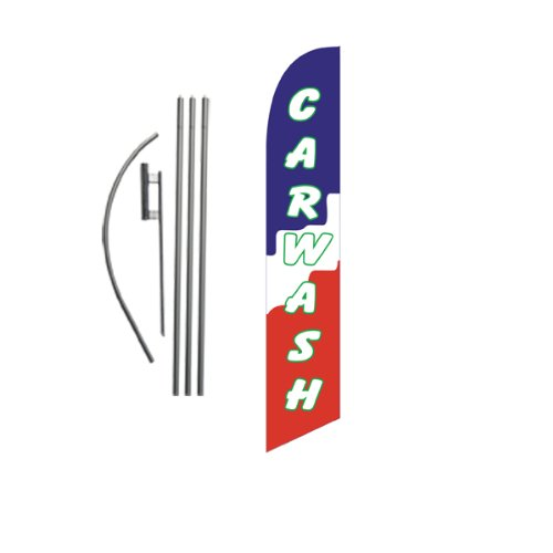 Car Wash (blocks) 15ft Feather Banner Swooper Flag Kit - INCLUDES 15FT POLE KIT w/ GROUND SPIKE