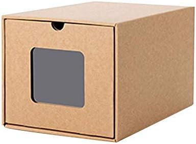 Cajones De Caja De Zapatos Transparentes, Cajas Zapatos De Papel Kraft, Cajón De Apilamiento Caja De Zapatos De Almacenamiento Transparente, Caja De Zapatos De Cartón Kraft Plegable Respetuosa 3 Piez: Amazon.es: Hogar