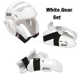 Lightning White Karate Sparring Gear Package Deal - Size Adult Large