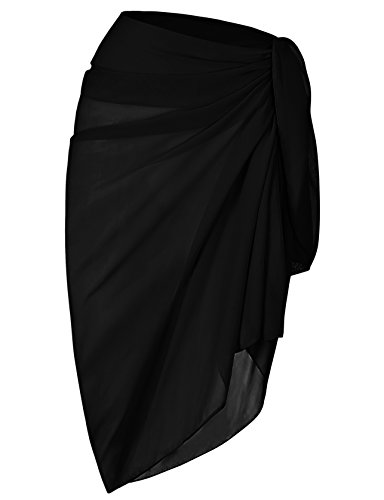 ChinFun Womens Beach Cover Up Long Sarong Dress Pareo Swim Slit Skirts Bathing Suit Bikini Wrap Chiffon Shawl Scarf Solid Black