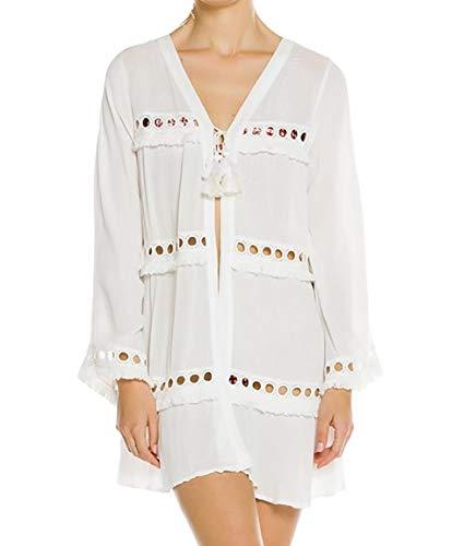 Bestyou Women's Print Rayon Kimono Cardigan Swimsuit Cover up Tunic Tops Swimwear (White E) ()