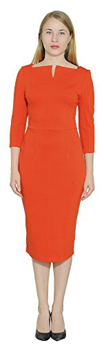 Marycrafts Women's Work Office Business Square Neck Sheath Midi Dress 4 Orange 4 by Marycrafts