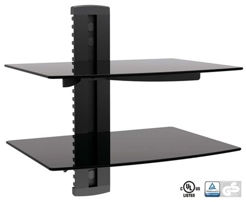 Wall Mounted Entertainment Shelf for Cable Boxes, BluRays, DVDs or Gaming Console. 2-Shelves by Primus Cable