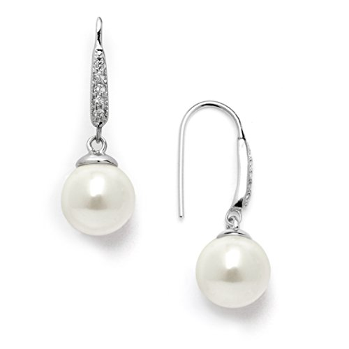 (Mariell Platinum Plated Vintage French Wire Ivory Pearl Drop Earrings with Pave CZ - Bridal or Everyday)