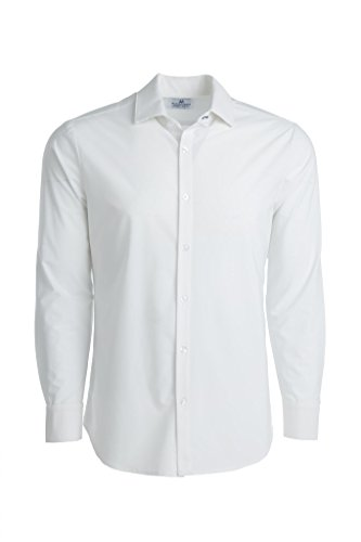 Mizzen + Main Leeward Trim Fit Mens Button Down Shirt - Non-Iron - Machine Washable - Sweat Wicking - Manhattan Solid White - - Collection Mens Shirt
