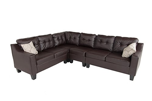 Oliver and Smith Fur_s295Brownleather_Prime Sectional Sofa, Brown