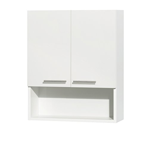 - Wyndham Collection Amare Bathroom Wall-Mounted Storage Cabinet in Glossy White (Two-Door)