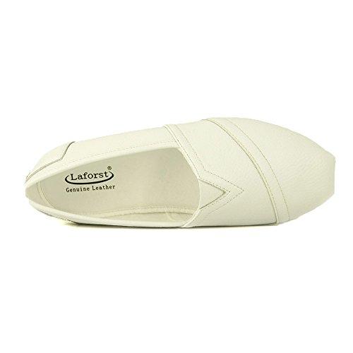 Laforst Jess Womens Leather Slip Resistant Server Waitress Nurse Slip On Flat White 9 by Laforst