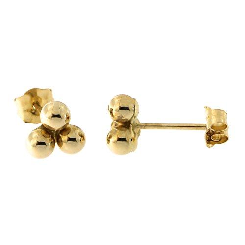 14k Yellow Gold Trio Ball Stud Earrings, - Trio Gold