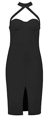 Betusline Moulante Sans Manches Pour Femmes Bandage Club Robe Midi Noir
