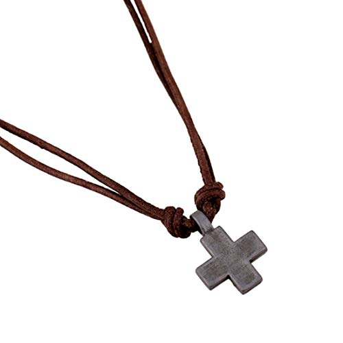 Leather Crucifix - CEFULTY Men's Alloy Crucifix Necklace Calf Leather Vintage Cowboy Adjustable Chain 20'' (Color : Silver)