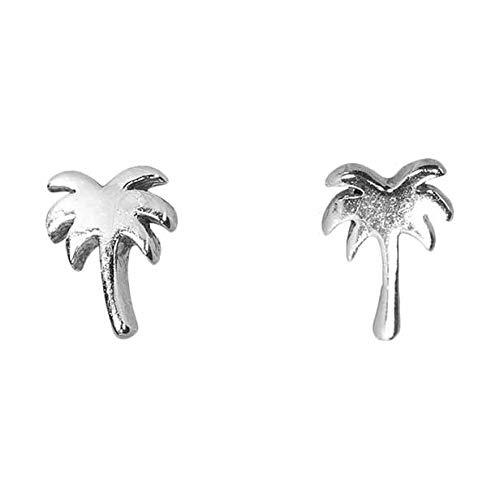 - Pura Vida Silver Palm Tree Stud Earrings - .925 Sterling Silver Earring