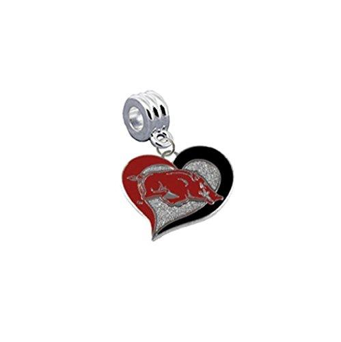 Arkansas Razorbacks Swirl Heart Universal European Bracelet Charm Fits Pandora, Troll, Biagi, Chamilia & More ()