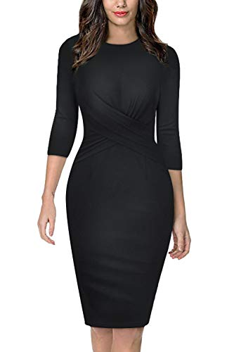 Moyabo Work Clothes for Women Office Twist Front Sheath Dress 3/4 Sleeve A-line Pencil Dress Black X-Large ()