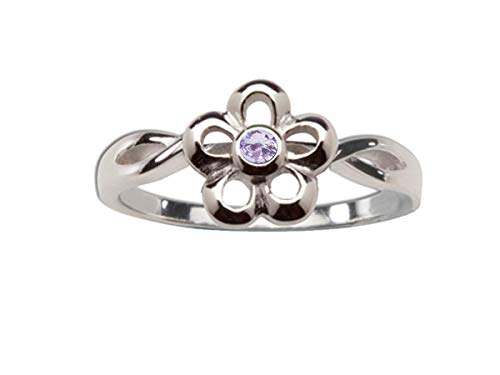 June Birthstone Flower - Sterling Silver June CZ Simulated Birthstone Baby Ring with Daisy Flower