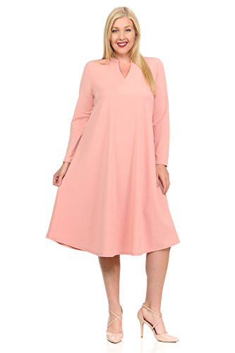 Pastel by Vivienne Women's Textured Trapeze Midi Dress with Mao Collar in Plus Size XX-Large Mauve (Collar Pink Mandarin Dress)