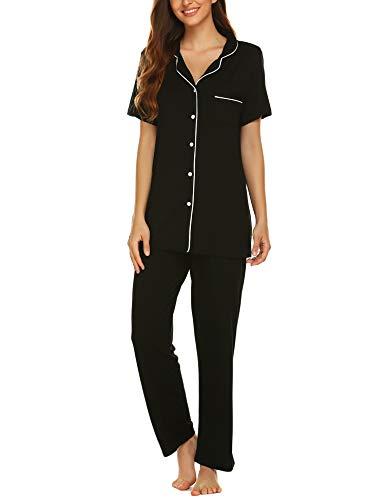 Avidlove Womens Comfort Pajama Set Short-Sleeve with Long Pjs Pants Soft Sleepwear,Large,Black Pj