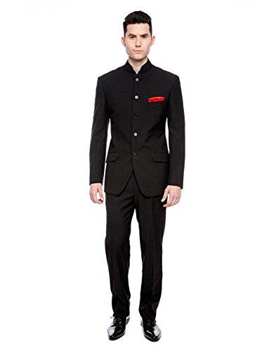 Royal Mens Black Nehru Grandad Collar Suit Ideal for Wedding (36'' Jacket 30'' Trouser, Black) by Royal