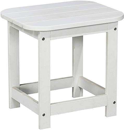 PolyTEAK Compact Side Table, Powder White - Looks Like Wood   All Weather Waterproof Material   Poly Resin Side Table   Porch and Patio Table   Feels Like ()