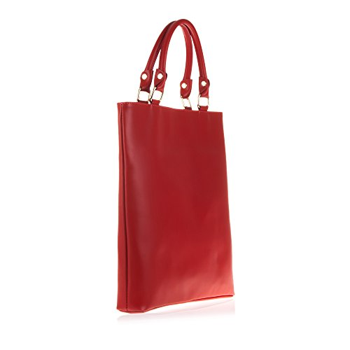 FIRENZE ARTEGIANI.Bolso de mujer piel auténtica.Bolso tote mujer de cuero genuino acabado Tamponato, grande. MADE IN ITALY. VERA PELLE ITALIANA. 34,5x37x6,5 cm. Color: ROJO