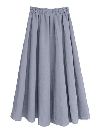 Soojun Women's Solid Cotton Linen Retro Vintage A-line Long Flowy Skirts, Grey, Large Average