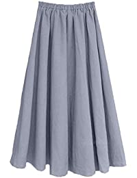 c5f7d3de8c Women's Solid Cotton Linen Retro Vintage A-line Long Flowy Skirts