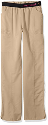 HeartSoul Scrubs Women's Head Over Heels So in Love Low Rise Pull-on Pant, Dark Khaki, Small Tall
