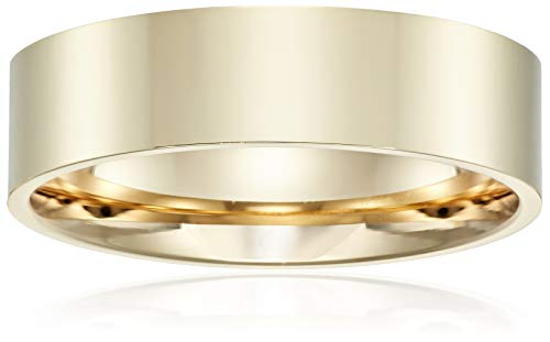 Decadence Unisex 14K Yellow Gold 6mm Polished Flat Comfort Feel Plain Wedding Band, 9.5