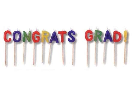 - J&J's ToyScape Congrats Grad Candle Picks (Pack of 13 Sticks) Mortarboard Graduation Party Supplies, Party Decorations