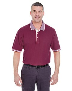 Ultraclub Classic Pique Polo with Contrasting Multi-Stripe Trim 8537 -Burgundy/ Wh - Pique Stripe Polo Multi
