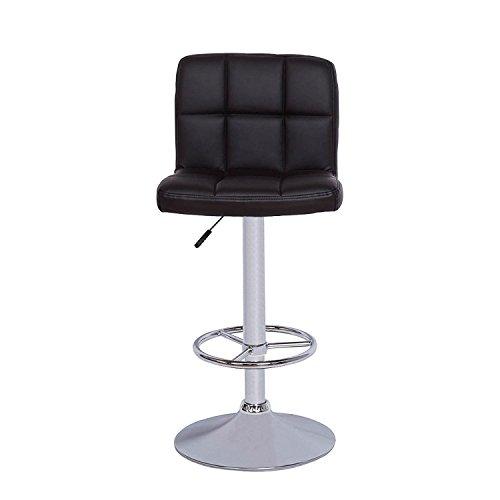 Vogue Furniture Direct Vogue Furniture Black Quilted Vinyl Adjustable-Height Chrome Base and Footrest Barstool